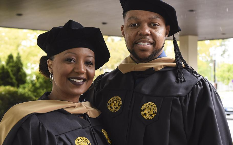 Tashondra Hicks and Senior Airman Damian Hicks received an MBA at the UMUC Europe commencement ceremony on Saturday, May 4, 2019, at Ramstein Air Base, Germany. The couple juggled raising two toddlers, a pregnancy and a deployment in earning their MBA in 18 months while Damian was assigned to RAF Lakenheath, U.K.