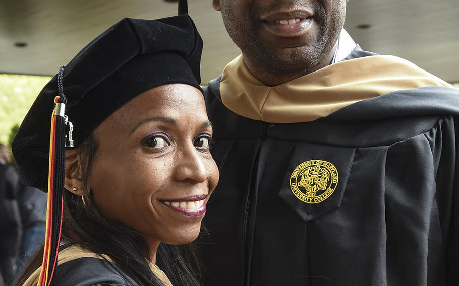 Leslie Ingram and her husband, Army Capt. Darren Ingram, each received a Master of Business Administration at UMUC Europe commencement on Saturday, May 4, 2019, at Ramstein Air Base, Germany.