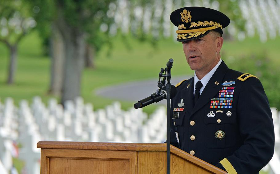 Maj. Gen. Andrew Rohling, deputy commander of U.S. Army Europe, speaks at the Memorial Day Ceremony at Lorraine American Cemetery in St. Avold, France, Sunday, May 26, 2019. Like many of the speakers, Rohling spoke of the courage and sacrifice of the soldiers buried here.