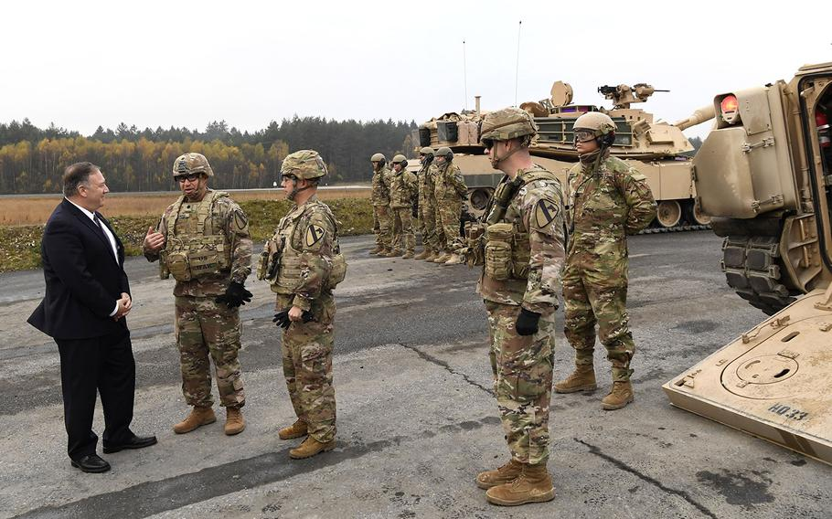 U.S. Secretary of State Mike Pompeo talks to U.S. soldiers based in Grafenwoehr, Germany, Thursday, Nov. 7, 2019.