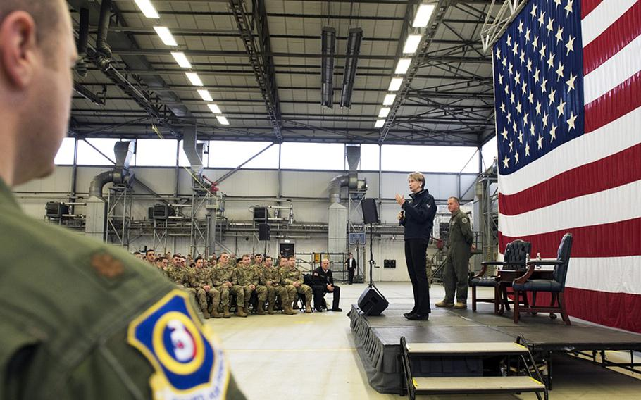 Secretary of the Air Force Barbara Barrett addresses airmen at Ramstein Air Base, Germany, on Friday, Nov. 22, 2019. Barrett and Air Force Chief of Staff Gen. David L. Goldfein answered questions on a variety of topics, including their priorities, overcoming challenges and retention.