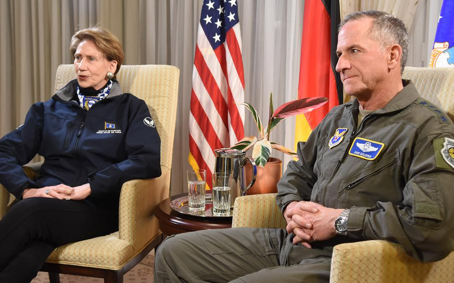 Secretary of the Air Force Barbara Barrett and Air Force Chief of Staff Gen. David L. Goldfein were at Ramstein Air Base, Germany, on Friday, Nov. 22, 2019, to visit with airmen after spending the week in the Middle East. It was Barrett's first trip overseas with Goldfein since being sworn in as the 25th Air Force Secretary.