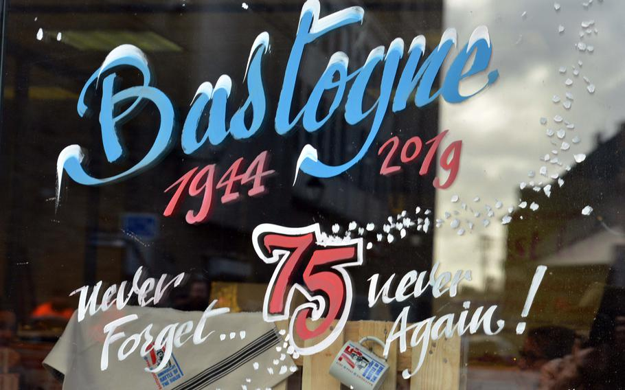Shop windows in Bastogne, Belgium, are decorated with art marking the 75th anniversary of the Battle of the Bulge on Saturday, Dec. 14, 2019.