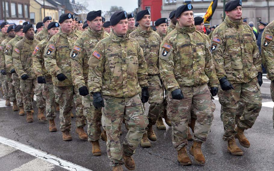 Soldiers of the 101st Airborne Division parade through Bastogne, Belgium, during celebrations marking the 75th anniversary of the Battle of the Bulge, Saturday, Dec. 14, 2019. The Screaming Eagles helped break the Nazi siege of the town during the famous World War II battle.
