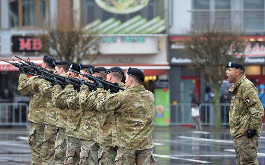 A 101st Airborne Division firing detail practices on McAuliffe Square before the parade and ceremony marking the 75th anniversary of the Battle of the Bulge, Saturday, Dec. 14, 2019.