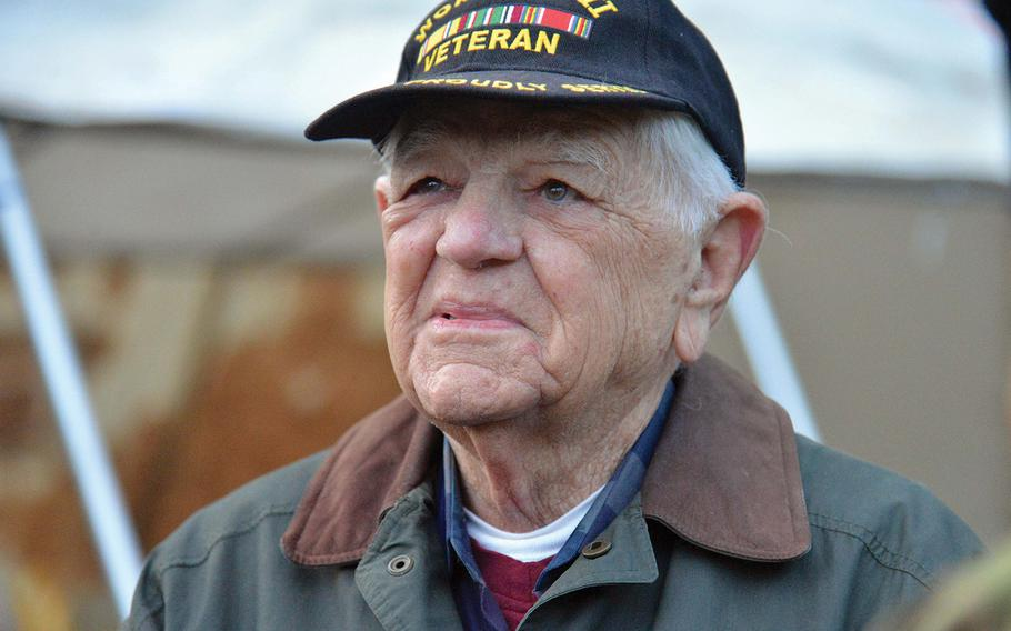 World War II veteran Herb Sheaner talks about his experience during the Battle of the Bulge, before a ceremony in the St. Vith, Belgium, district of Schoenberg, where a monument to World War II prisoners of war and missing in action was dedicated, Sunday, Dec. 15, 2019.