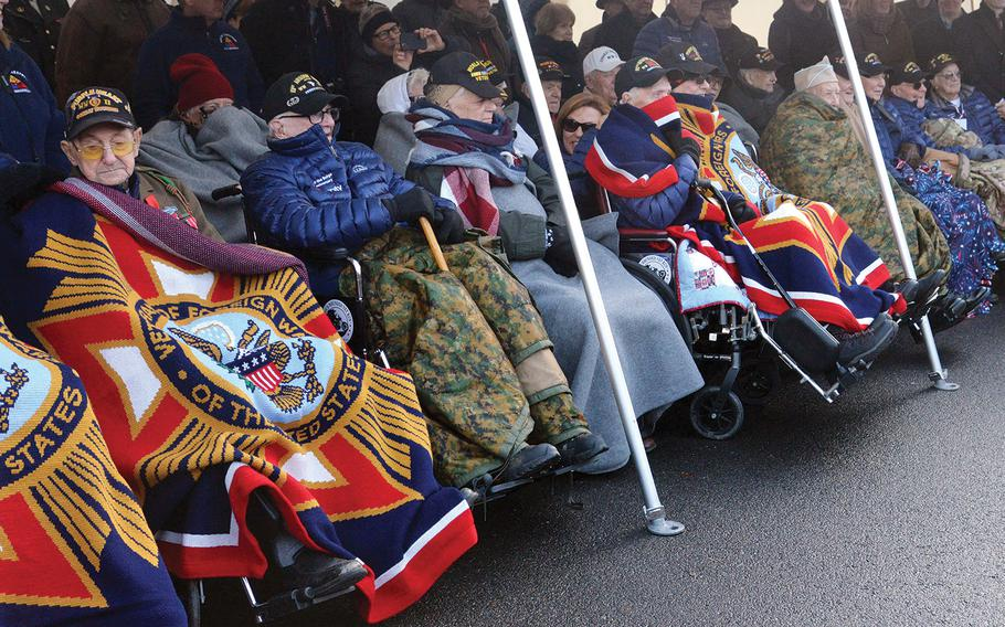 More than two dozen World War II veterans were on hand for the 75th anniversary of the Battle of the Bulge ceremony at the 106th Infantry Division monument in St. Vith, Belgium, on Sunday, Dec. 15, 2019.