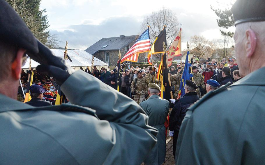 The colors are presented by the U.S. Army Garrison Benelux color guard at the 75th anniversary of the Battle of the Bulge ceremony at the 106th Infantry Division monument in St. Vith, Belgium, on Sunday, Dec. 15, 2019.