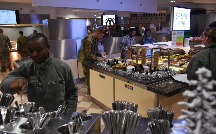 Airmen visit the Rheinland Dining Facility at Ramstein Air Base, Germany, for lunch on Tuesday, Dec. 17, 2019. The dining facility will close mid-January for up to two years for a major renovation project. Airmen will receive extra money for food during the closure.