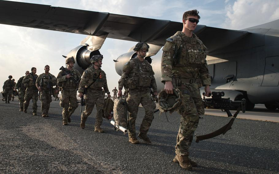 U.S. Army paratroopers from the 82nd Airborne Division arrive at Ali Al Salem Air Base, Kuwait, Jan. 2, 2020. The division is slated to play a big role in the upcoming Defender Europe exercise, but unrest in the Middle East could throw a wrench into plans for the biggest military exercise in Europe in 25 years.
