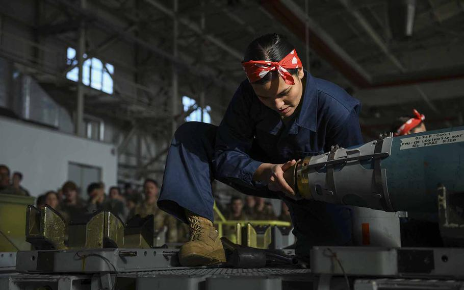 U.S. Air Force Staff Sgt. Ana Merkel, a munition inspector from the 31st Munitions Squadron, conducts an inert bomb build at Aviano Air Base, Italy, Jan. 7, 2020. Merkel developed the idea for the all-female ''Bouncing Bettys'' team, which won the competition.