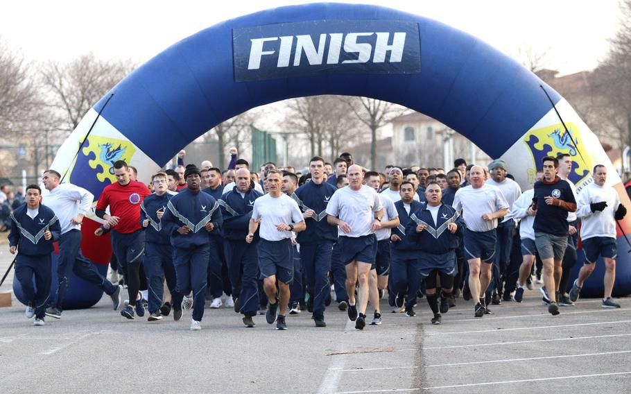 Teams of airmen set off on the run portion of the Amazing Wyvern Race, held Friday, Jan. 31, 2020, at Aviano Air  Base in Italy.