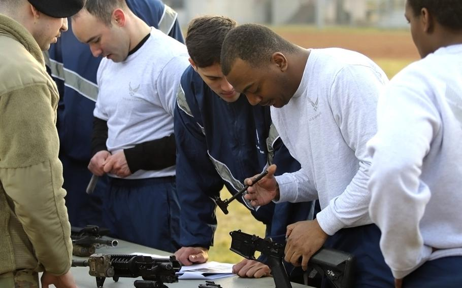 Airmen with the 31st Fighter Wing at Aviano Air Base, Italy, take part in a challenge at the Amazing Wyvern Race on Friday, Jan. 31, 2020.