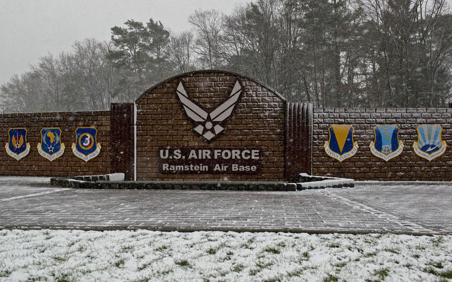 The west gate of Ramstein Air Base, Germany.
