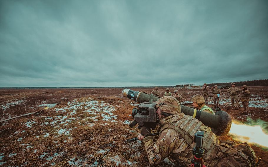 British soldiers, assigned to the Balaklava Troop, C Squadron, also known as the Royal Scots Dragoon Guards, fire a Javelin anti-tank guided missile system during a live-fire exercise in support of NATO's enhanced Forward Presence Battle Group Poland in Bemowo Piskie, Poland, Jan. 30, 2020.