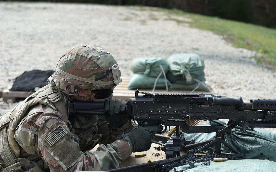 Spc. Nicholas Smith, a fire support specialist with the 41st Field Artillery Brigade, fires an M240B machine gun during an exercise at Grafenwoehr Training Area, Germany, April 17, 2020.