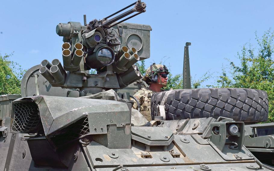 Sgt. Jashua Garcia, a Stryker gunner with the Army's 2nd Cavalry Regiment, looks out over his vehicle during Exercise Saber Guardian in Cincu, Romania, in June 2019. A report co-authored by former U.S. Army Europe commander Ben Hodges and security analyst Janusz Bugajski, released on Tuesday, May 26, 2020, calls on NATO to make the Black Sea region its focus.