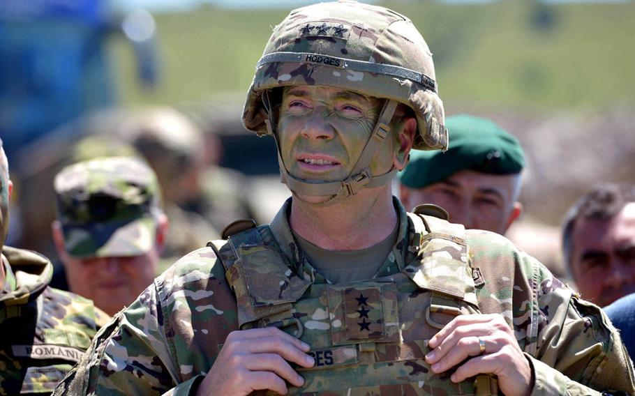 Then-U.S. Army Europe commander Lt. Gen. Ben Hodges at the Center for Joint National Training in Cincu, Romania, in July 2017. Hodges co-authored a report released Tuesday, May 26, 2020, that the Black Sea region should be a focus for NATO.