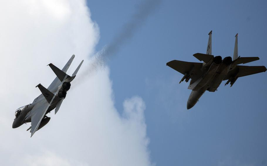 Two F-15C Eagles assigned to the 493rd Fighter Squadron fly over RAF Lakenheath, England, May 20, 2020. An F-15C from Lakenheath crashed in the North Sea, Monday, June 15, 2020, the 48th Fighter Wing said in a statement.