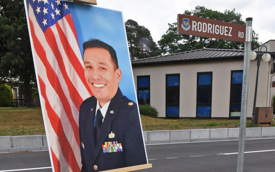A photo of the late Air Force Maj. Rodolfo Rodriguez is displayed during a road dedication ceremony in his name on Tuesday, June 16, 2020, at Ramstein Air Base, Germany.