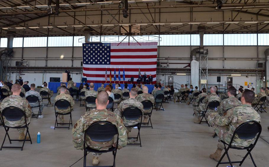 The 86th Airlift Wing's socially distanced change of command ceremony at Ramstein Air Base, Germany, Aug. 7, 2020. Brig. Gen. Joshua M. Olsen took command from Brig. Gen. Mark R. August.