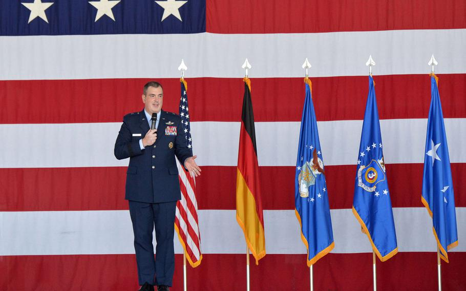 Outgoing 86th Airlift Wing commander Brig. Gen. Mark R. August speaks before turning over command to Brig. Gen. Joshua M. Olsen at the change of command ceremony at Ramstein Air Base, Germany, Aug. 7, 2020.