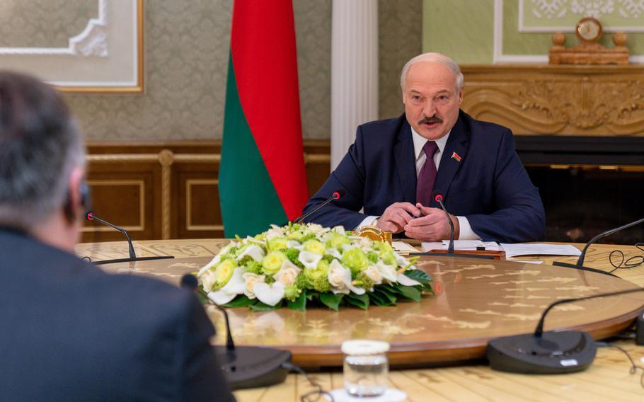 U.S. Secretary of State Mike Pompeo meets with Belarusian President Alexander Lukashenko in Minsk, Belarus, on Feb. 1, 2020.