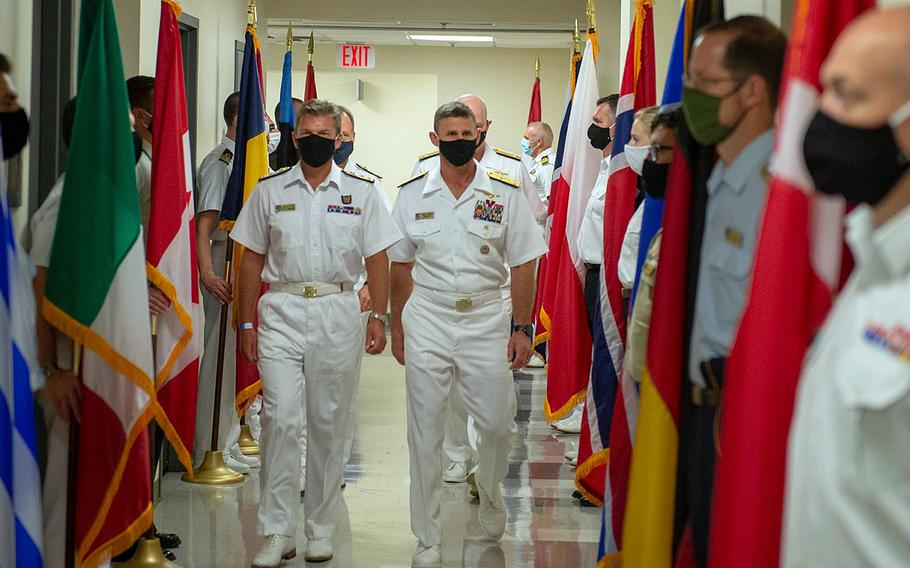 U.S. Navy Vice Adm. Andrew Lewis and British Royal Navy Rear Adm. Andrew Betton host a ceremony at Naval Support Activity Hampton Roads, in Norfolk, Va., Sept. 17, 2020, to mark the start of operations of NATO's Atlantic Command.