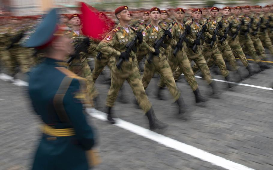 Russian troops march during the Victory Day military parade to celebrate 74 years since the victory in WWII in Red Square in Moscow, Russia, Thursday, May 9, 2019.
