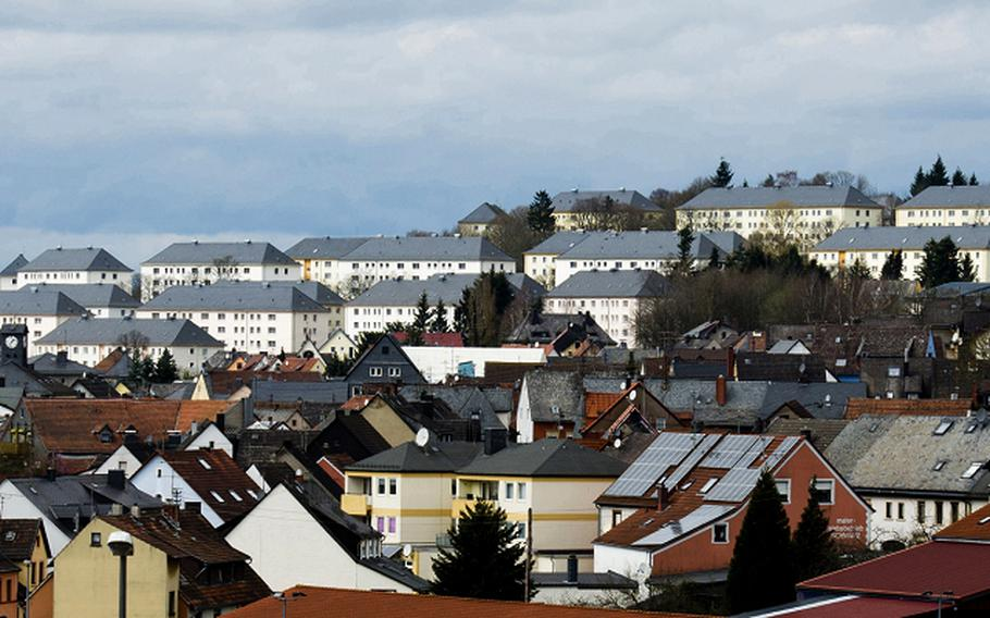 The U.S. Army's Smith Barracks sits on a hill above Baumholder, Germany. U.S. Army Garrison Rheinland-Pfalz officials on Oct. 15, 2020, issued an order barring military community members from frequenting bars and pubs in Baumholder after an employee of one of the establishments continued to work despite testing positive for the coronavirus.