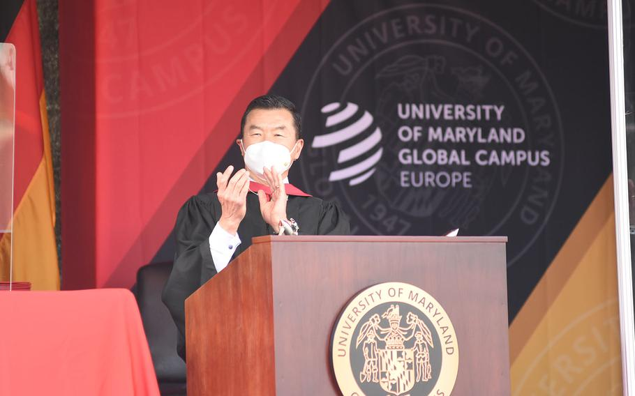 Tony Cho, University of Maryland Global Campus Europe vice president, spoke briefly during the commencement ceremony for the university's class of 2020 on Saturday, Nov. 7, 2020, in Kaiserslautern, Germany.