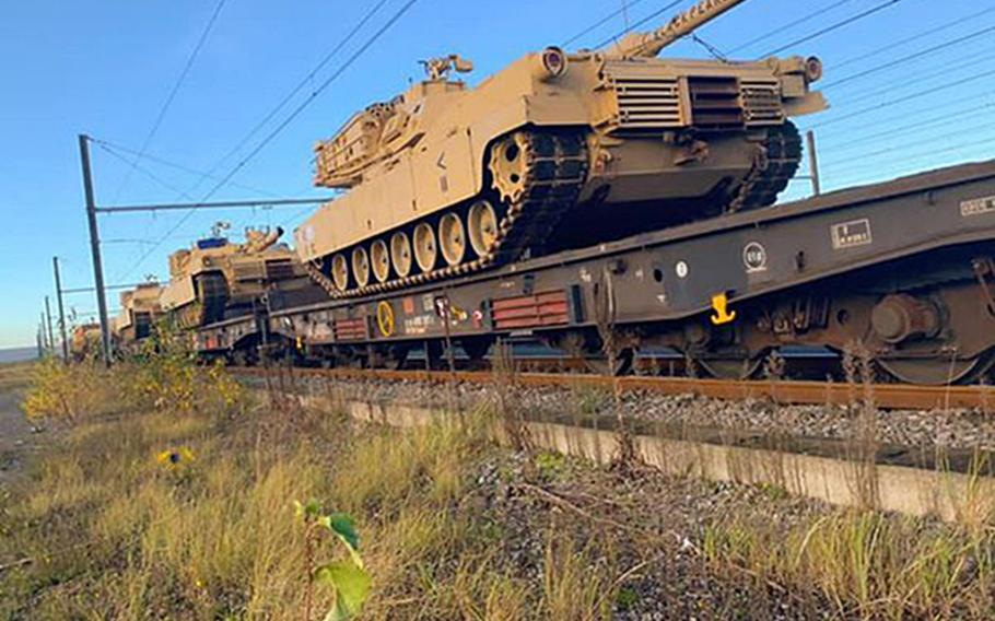 Tanks of the 1st Armored Brigade Combat Team, 1st Cavalry Division, from Fort Hood, Texas are loaded on railway cars in this photo taken from the unit's official Facebook page. The brigade formally takes over the Atlantic Resolve mission on Nov. 30, 2020, when it replaces the 2nd Armored Brigade Combat Team, 3rd Infantry Division as the Army's rotational tank brigade in Europe.