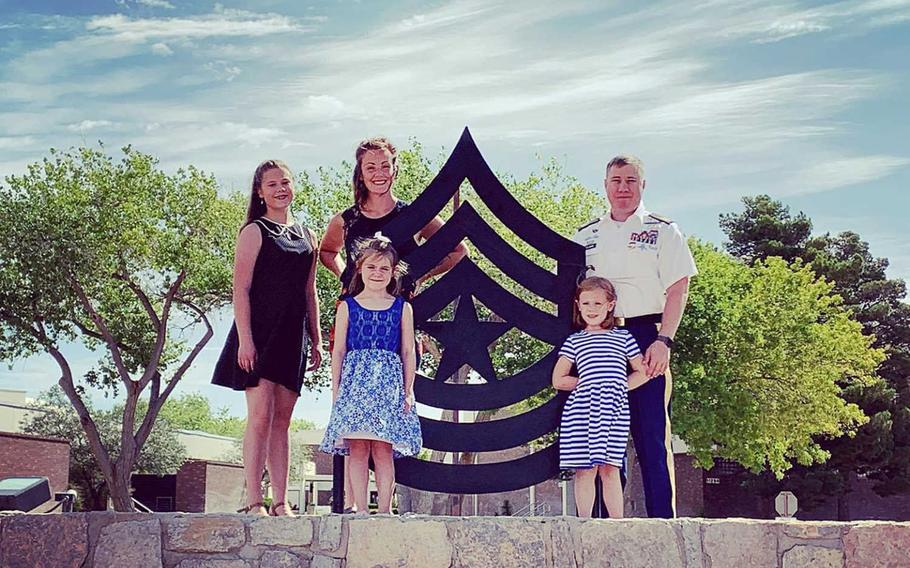 Sgt. Maj. Fred Tolman and wife Kelly pose with three of their four children at Fort Bliss, Texas, before recently heading to their posting with the 173rd Airborne Brigade in Vicenza, Italy. The family spent two weeks under quarantine, as all new arrivals must, and Kelly Tolman said she considered their family time together ''a blessing.''