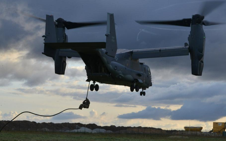 A U.S. Air Force CV-22 Osprey, assigned to the 352d Special Operations Wing, trains near Amari, Estonia, in September 2019. A new special operations site in Latvia that officially opened in November 2020 includes two helipads that can be used by the Ospreys.