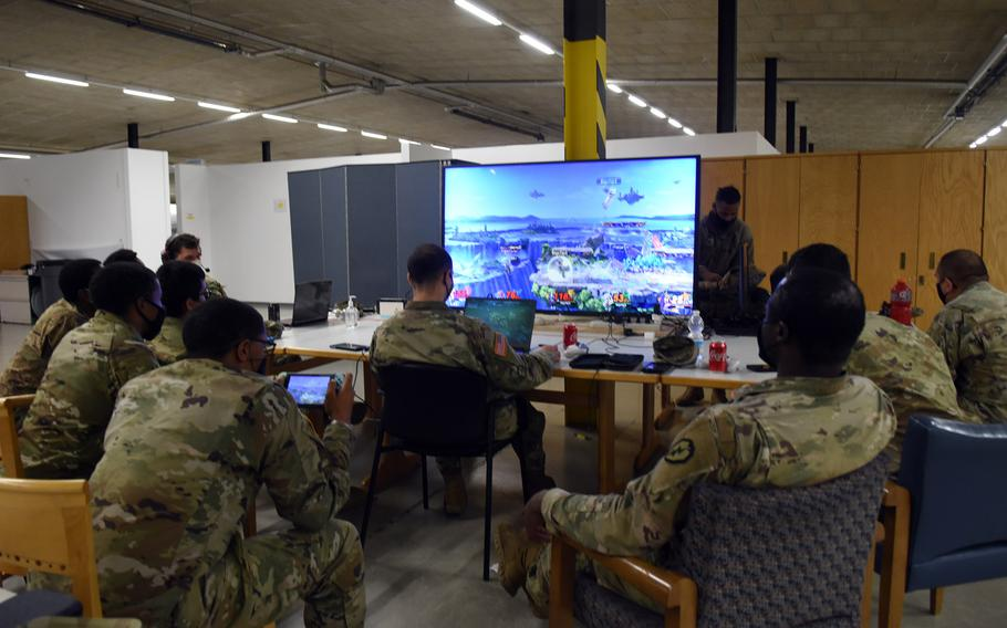 Playing video games is one of the most popular activities for soldiers in quarantine at Rhine Ordnance Barracks in Kaiserslautern, Germany. The Army says it tries to make the two-week quarantine as fun as possible while keeping soldiers healthy.