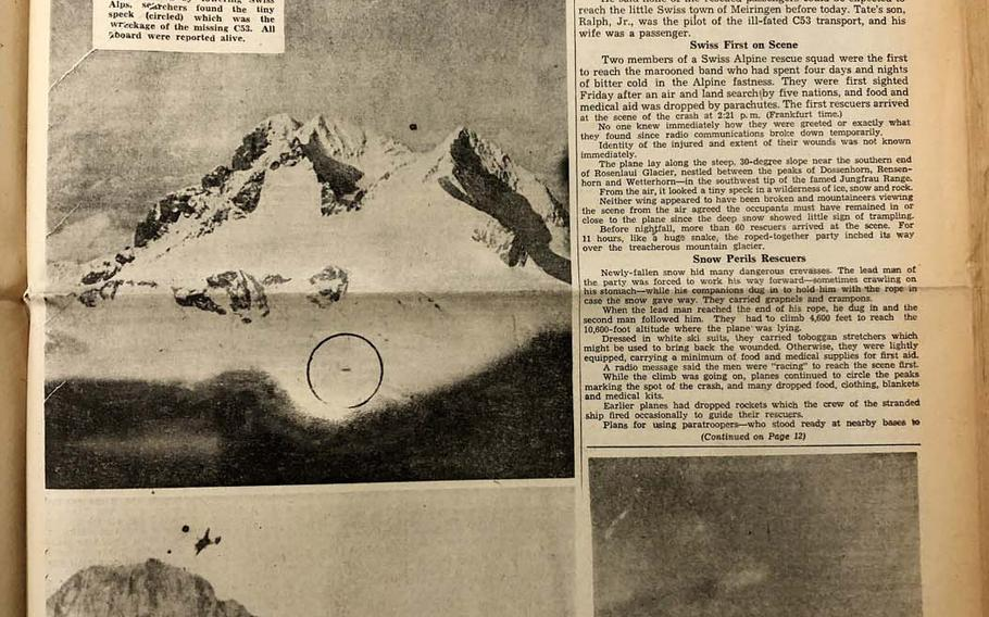 The front page of The Stars and Stripes on  Nov. 24, 1946, reports on the rescue party reaching the C-53 aircraft that crashed in the Swiss Alps on Nov. 18. Analysis of ice samples taken from the Gauli Glacier in Switzerland, where the Dakota crash-landed, has led a scientist to update predictions of where and when the plane will emerge from the ice.