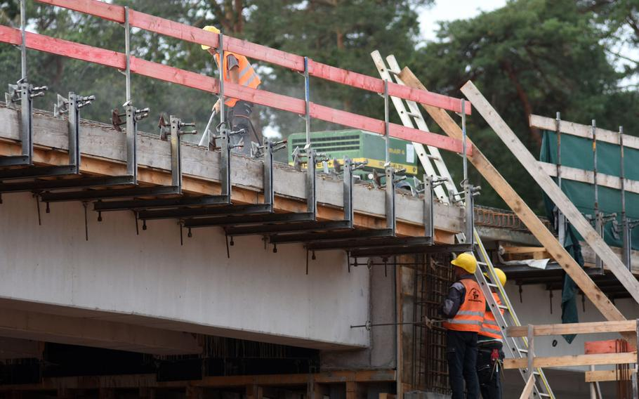 A construction crew worked last year on a new bridge that eventually will connect the new Rhine Ordnance Barracks Medical Center with Ramstein Air Base. Lawmakers are cutting appropriations for the new facility, slashing more than $100 million from a requested $200 million in 2021.