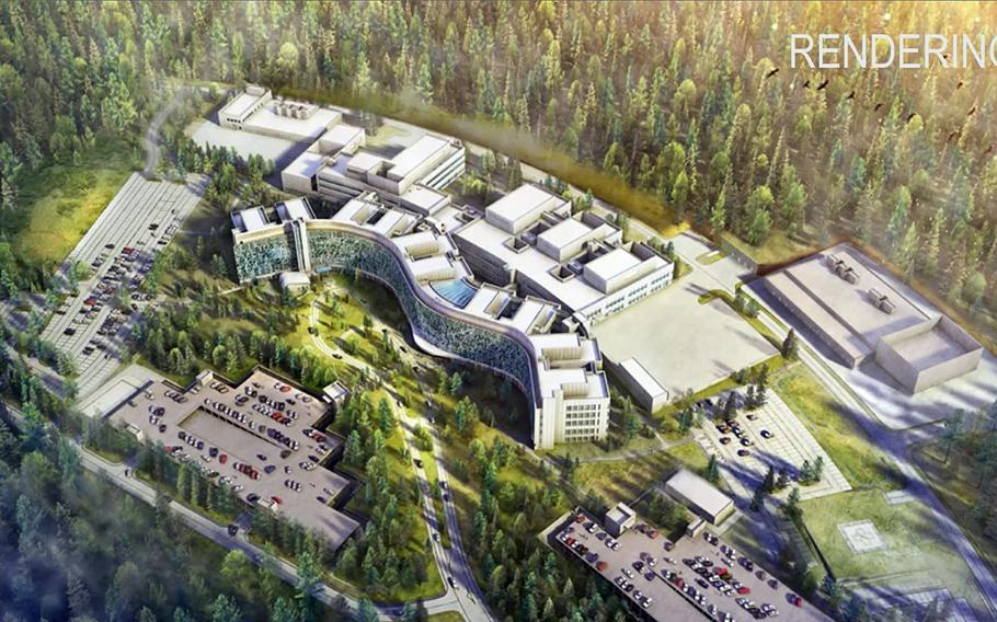 An artist's rendition of the Rhine Ordnance Barracks Medical Center in Weilerbach, Germany, being built to replace the present medical center in Landstuhl. Lawmakers are cutting appropriations for the new facility, slashing more than $100 million from a requested $200 million in 2021.