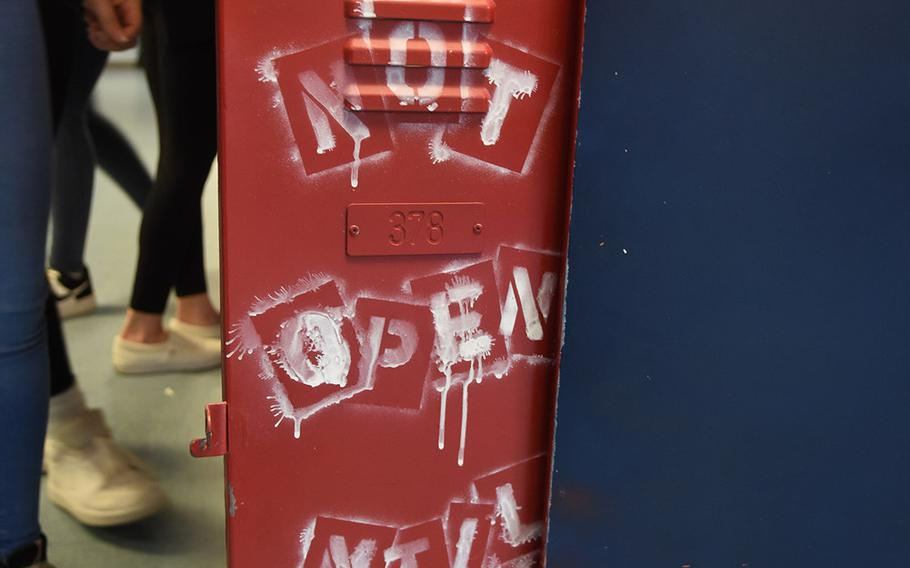 Instructions painted on a school locker converted into a time capsule by the Ramstein High School Class of 2005. Senior officers from the class of 2021 opened the capsule on Friday, Dec. 11, 2020, at the school on Ramstein Air Base, Germany.