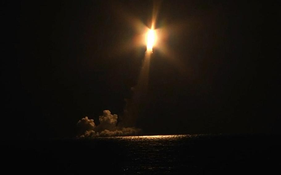 The Russian strategic missile submarine Vladimir Monomakh fires a salvo of four Bulava ballistic missiles as part of planned combat training activities, Dec. 12, 2020. Warnings of a missile attack went off at Ramstein Air Base, Germany, the same day, only to be called off a few minutes later.