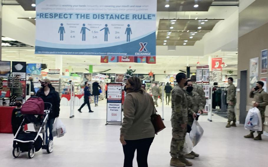 Soldiers and civilians shop at the Grafenwoehr Exchange at Tower Barracks on Dec. 15, 2020, in Grafenwoehr, Germany. The exchange and commissaries on bases in Bavaria, Stuttgart, Wiesbadent and Rheinland-Pfalz will remain open in the coming weeks, despite tougher German coronavirus restrictions that are in effect from Dec. 16 until Jan. 10.