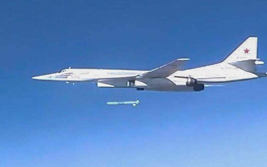 A Russian Tu-160 bomber launches a cruise missile in 2015 against Islamic State targets in Syria. The U.S. Air Force is looking for help defending military bases in Europe from hypothetical attacks by Chinese drones and Russian cruise missiles.