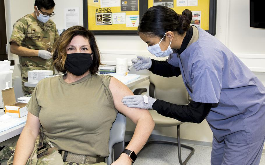 Maj. Shara Fisher, commander of the U.S. Army Health Clinic Kaiserslautern, Germany, was first to receive the coronavirus vaccine at the facility on Dec. 30, 2020, as the military works to vaccinate personnel in Europe against the virus.