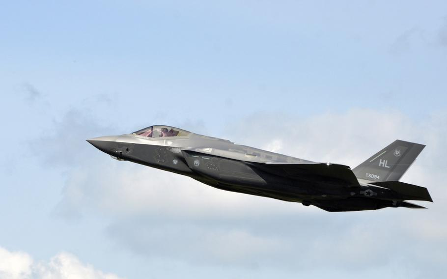 An F-35A Lightning II from Hill Air Force Base, Utah, takes off from RAF Lakenheath, England, in 2017. The search for a name for the 495th Fighter Squadron, the first F-35 unit that will be based in Europe, is down to five finalists: Archangels, Sabres, Sentinels, Swordsmen and Valkyries.