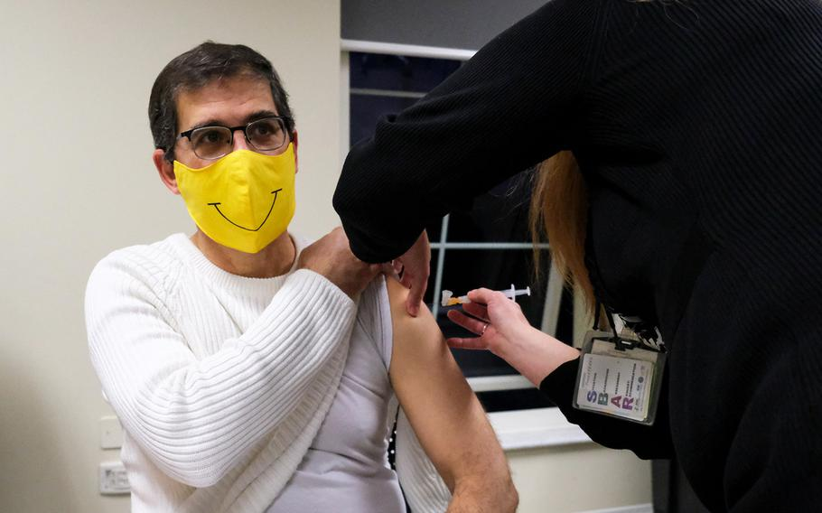 U.S. Army Health Center Vicenza family nurse practitioner  Mark Mollner receives his COVID-19 vaccine, Jan. 8, 2021 in Vicenza, Italy.