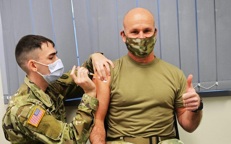 Gen. Christopher G. Cavoli, commander of U.S. Army Europe and Africa, gets vaccinated with the Moderna COVID-19 vaccine at the Wiesbaden Army Health Clinic, Germany, on Jan. 14, 2021.