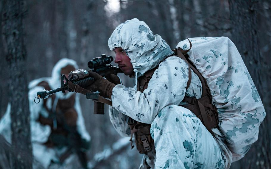 U.S. Marines move through the forest on a patrol during Exercise Reindeer II in Setermoen, Norway, in November 2020. The Marine Corps is assessing what to do with 1,000 Marines who are in Norway for a large training exercise which has been canceled amid concerns about an increase in coronavirus cases in the country.