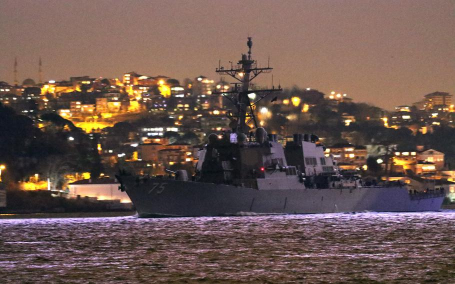 The USS Donald Cook enters the Black Sea at night, Jan. 23, 2021. The U.S. Navy has three warships operating in  the Black Sea as of Thursday, Jan. 28, 2021.