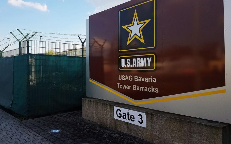 The main gate of the Grafenwoehr Training Area's Tower Barracks, in Grafenwoehr, Germany, in April 2018. Soldiers in Bavaria will be allowed to wear uniforms off-post for a trial run starting Feb. 15, 2021.