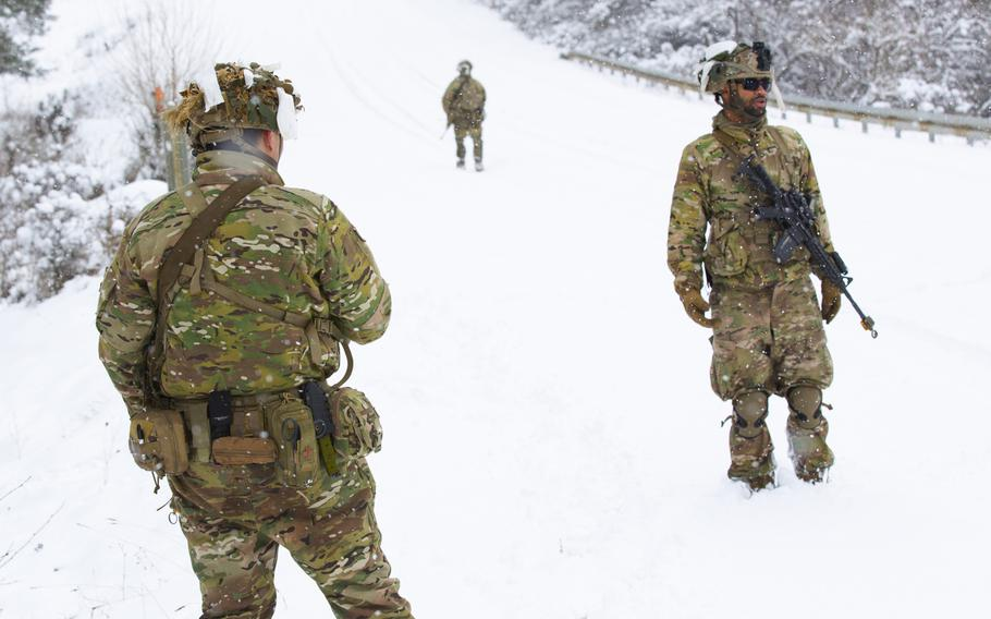 Soldiers assigned to 1st Squadron, 91st Cavalry Regiment, conduct troop dismount reconnaissance training for a platoon external evaluation at Hohenfels, Germany on Jan. 26, 2021. The evaluation allowed troop and squadron commanders to assess the unit's readiness prior to the Combined Resolve XV exercise, which began Feb. 1.